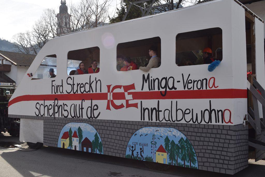 ICE der Extraklasse Pang Wasen nicht verbrennern Bürgerforum Inntal Faschingzug Flintsbach Brennerno