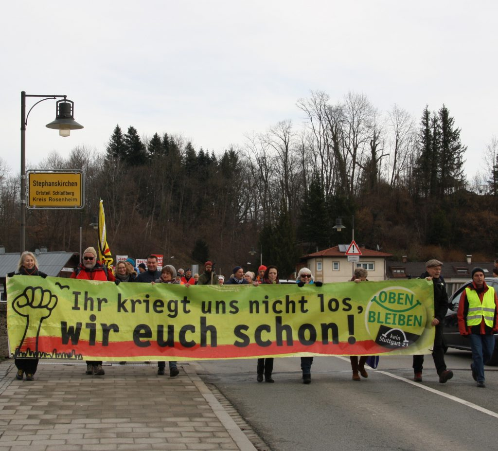 Kein Stuttgart 21 im Inntal! Der Protest wird auch von erfahrenen Demonstranten von Stuttgart 21 unt