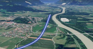 Höhentwicklung der Neubautrasse zum Brennernordzulauf in Neubeuern