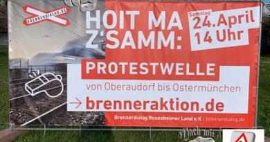 Hoit ma z´samm für unseren Lebensraum !  Protestwelle Brennernordzulauf von Ostermünchen – Oberaudorf am 24.4.21       14 Uhr